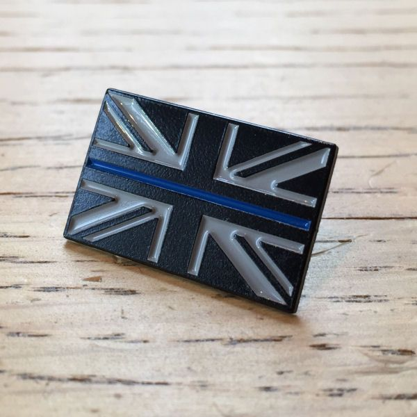 Thin Blue Line Union Flag Police Enamel Lapel Pin Badge TBL01,